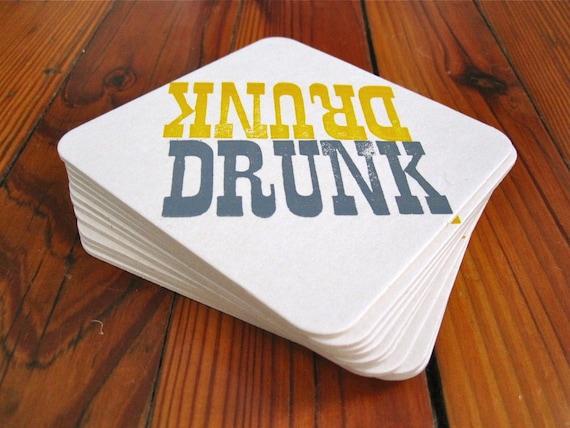 DRUNK letterpress printed coasters- set of 10