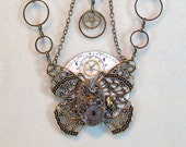 Steampunk filigree butterfly necklace