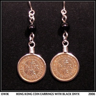 hong kong coin earrings with black onyx and sterling silver