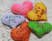 Tiny Felt Embroidered Love Token Conversation Hearts - Electric Bright Neon colors - Custom Made to Order