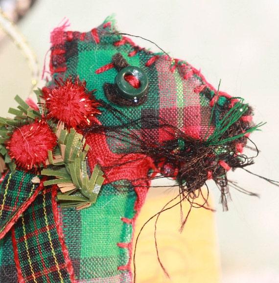 Red and Green Tartan Plaid Scotch Terrier Quilty Critter