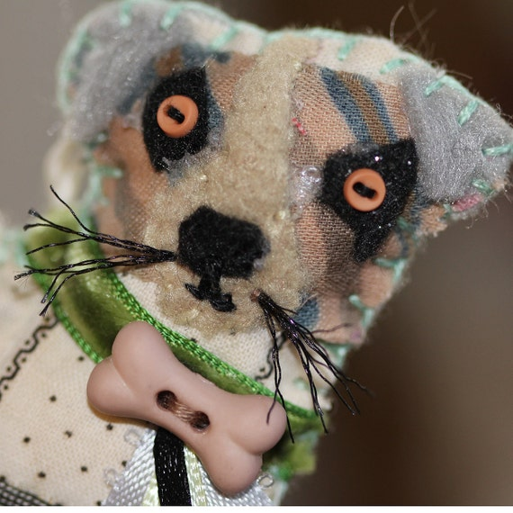 Sad-sweet Beige and Muted Black Calicos Jack Russell Terrier Quilty Critter Ornament - version II
