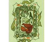 mermaid gocco print