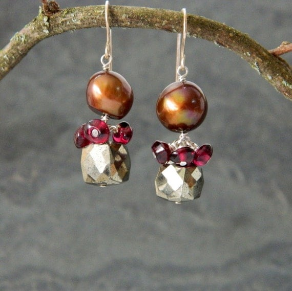 Amour Earrings with Freshwater Pearls, Pyrite and Garnets
