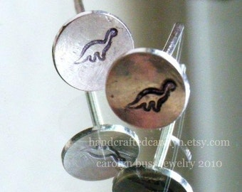 Studly the Dino Stud Earring  - Domed Sterling Silver Stamped Post Earrings