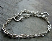 water anklet-- handmade recycled sterling silver chain-- primitive series