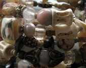 pink beaded coil wrap bracelet-- sterling silver, bone, pearl, gemstone and glass-- rosetta by thebeadedlily
