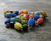 beaded anklet-- colorful recycled glass anklet-- --maja-- handmade by thebeadedlily on etsy