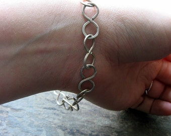infinite bracelet-- sterling silver chain-- primitive series-- handmade by thebeadedlily