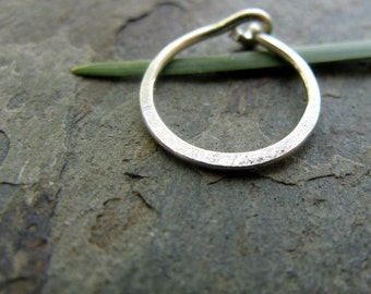 satin hoop-- hammered nose ring or cartilage single earring--  custom hammered hoop-- primitive series-- handmade by thebeadedlily