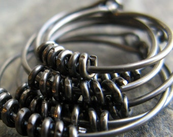 coil hoop stack-- graduated niobium hoops-- 3 pair-- handmade by thebeadedlily on etsy