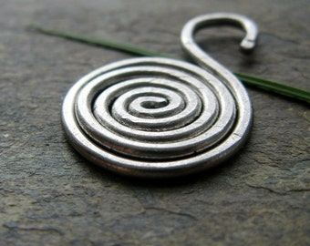 spiral septum ornament-- primitive series-- handmade by thebeadedlily