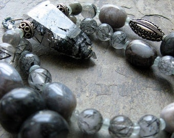grey beaded gemstone necklace-- ars poetica--  handmade by thebeadedlily