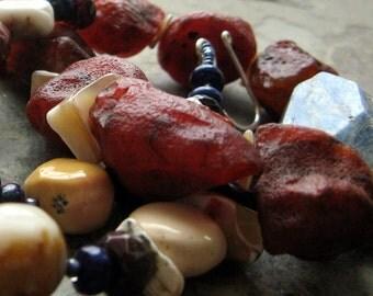 illuminated-- beaded stone necklace-- red orange, blue and tan-- handmade by thebeadedlily