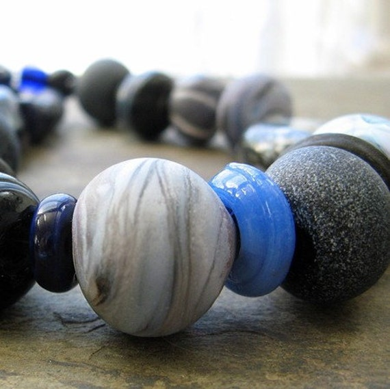 on the blue shore of silence-- blue beaded necklace--  handmade by thebeadedlily