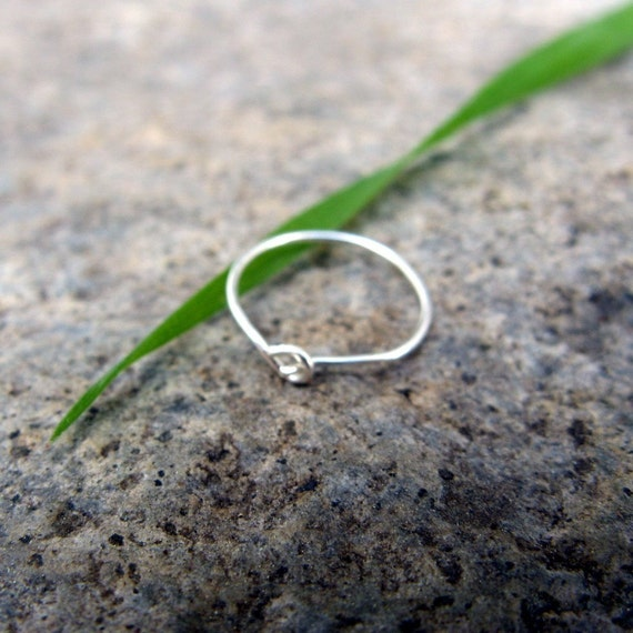 22g meddle nose ring--  custom sterling silver hoop-- primitive series-- handmade by thebeadedlily on etsy