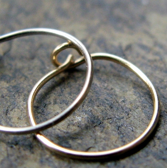 26g nose ring-- solid 14k gold or sterling silver hoop single-- primitive series-- handmade by thebeadedlily