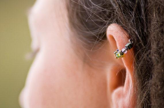 18g or 16g bejeweled hoop-- beaded hoop single or nose ring-- handmade by thebeadedlily