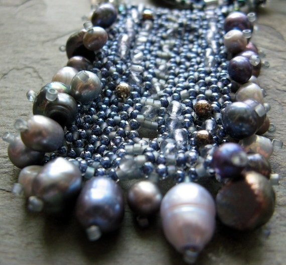 blue beadwoven necklace-- study in iolite-- handmade by thebeadedlily