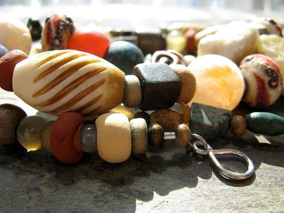 pirate booty-- long brown organic beaded necklace-- handmade by thebeadedlily
