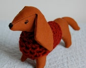 Dachshund in Red Sweater
