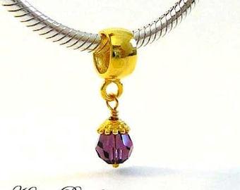 vermeil gold February amethyst purple Birthstone dangle Charm for european Bracelet