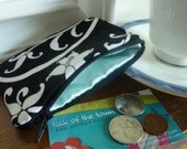 Coin Pouch in Black and White Damask and Turquoise Satin