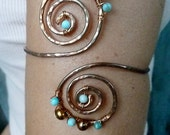 PLUS SIZE Arm Cuff, Turquoise & Copper Greecian Swirl Upper Arm Cuff, Arm Band,  Armlet