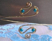 Plus Size Armband, Upper Arm Cuff, Armlet - Gold and Teal or CUSTOM CREATED