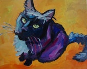 I Want a Kitty Treat - Cat Portrait 8x10 oil on canvas Daily Paintings by Elizabeth Fraser