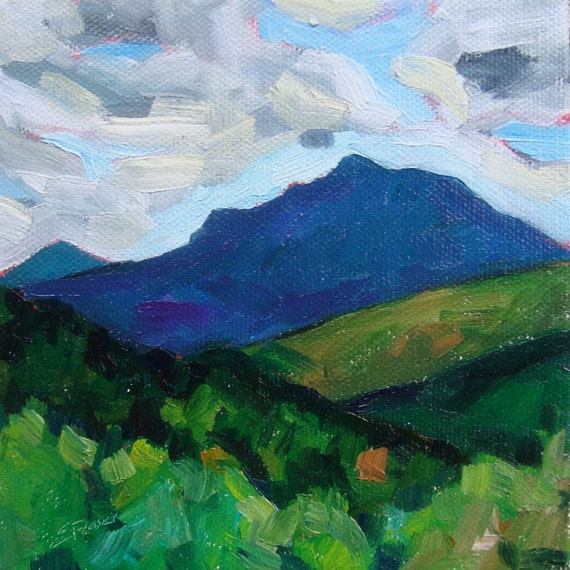 Green Mountains and Camel's Hump 5x5 oil on canvas Daily Paintings by Elizabeth Fraser