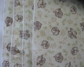 Owls on cream, flannel cloths, set of 4, SECOND, REDUCED PRICE
