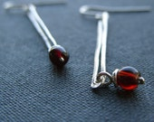 Sticks n Stones earrings - garnet and fine silver