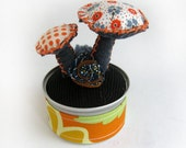 Fabric Topiary with Mushrooms - pin cushion - home decor - soft sculpture