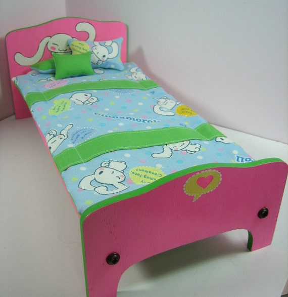 Spring Colored Cinnamaroll Twin Bed with Bedding for Blythe Dal and Yo-SD Dolls