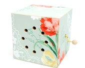 vintage wallpaper music box. plays: here comes the bride