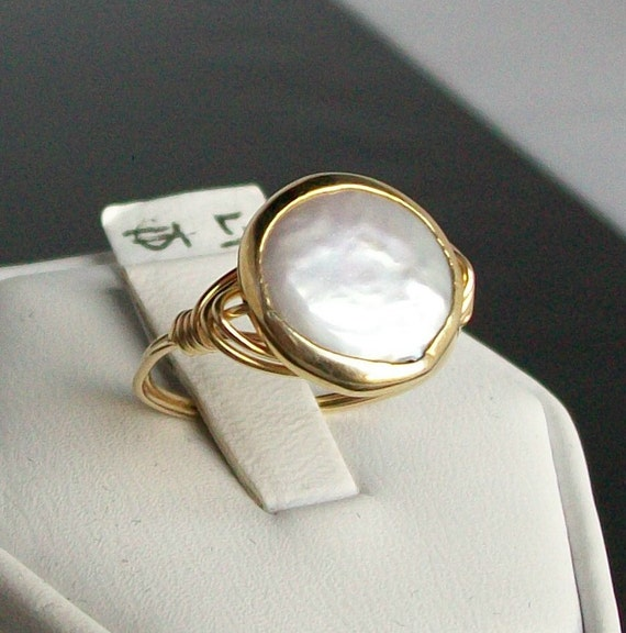 Creamy White Freshwater Coin Pearl Vermeil Bezel 14kt Gold Filled Ring