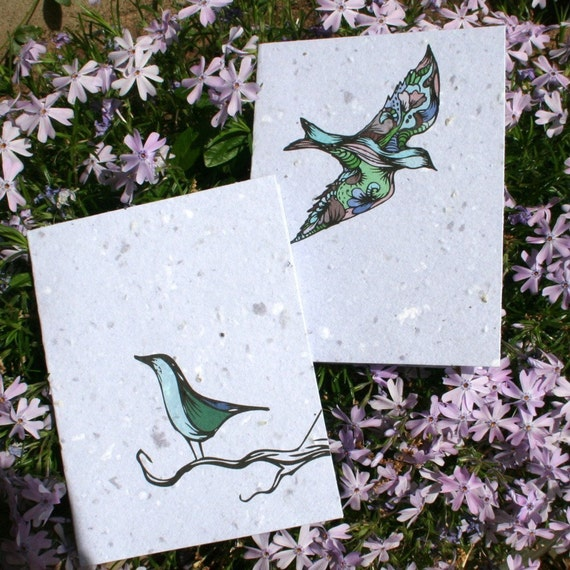 Plantable Flower Seed Cards - Two birds on blue plantable paper