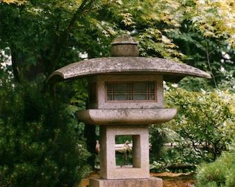 Square Stone Lantern Japanese Garden Photo Card