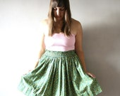 RESERVED - Super Swingy Full Green Floral Skirt
