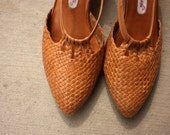 size 8.5 - Tan Woven Leather Heels