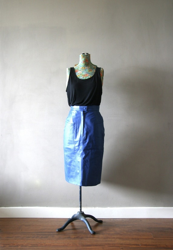 RESERVED - Vintage Electric Blue Leather Pencil Skirt