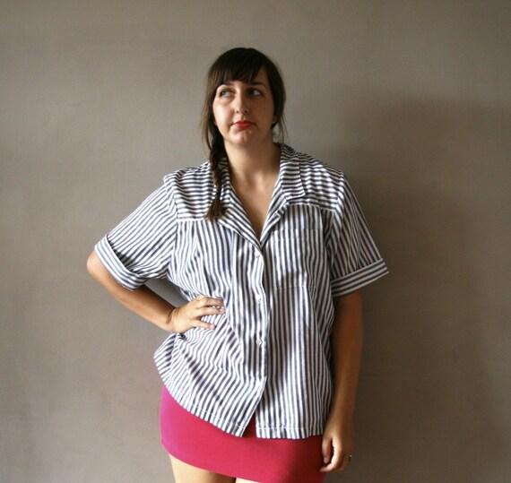 Vintage Grey Stripes Button Down Top