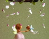 """Mobile """"A ballet scene with two fairies"""" - felted, waldorf inspired"""