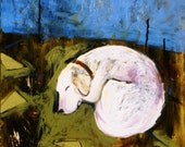 Sleeping June Small Reproduction Yellow Lab Dog Art