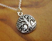 Sterling Silver Tree of Life Necklace- Small Circle Branch Twig Circle Pendant with Dainty Sterling Silver Chain