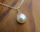 Tiny Freshwater Pearl Necklace- White Ivory Small Pearl with Sterling Silver Feminine Dainty Chain and Secure Spring Clasp