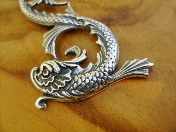 Dragon Koi Fish Necklace- Pretty Asian Pendant on Sterling Silver Chain with Secure Spring Clasp