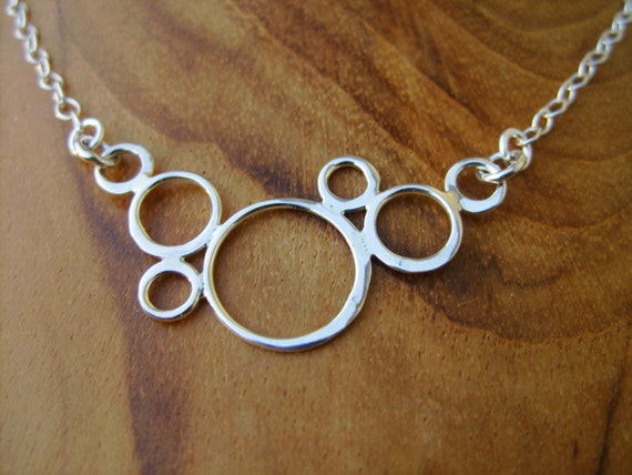 Linked-In Necklace- Sterling Circle Ring Pretty Pendant on Sterling Silver chain with Secure Sterling Clasp