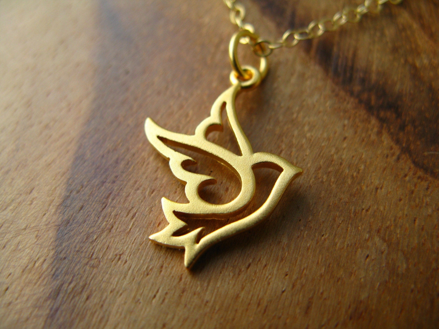 Gold Dove Necklace Sweet And Pretty Bird Outline By Gomeagan
